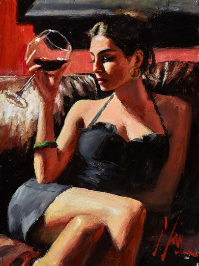 Tess IV (Green Bangle) by Fabian Perez - Original Painting on Stretched Canvas